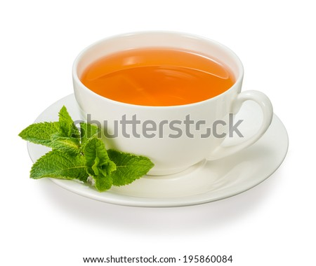 cup of tea with mint leaves - stock photo