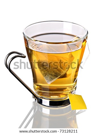 Cup of tea with pyramid teabag (concept, clipping path included)