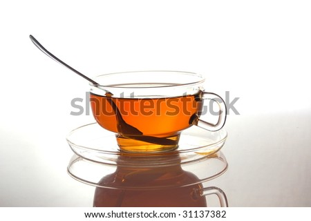 cup of tea with reflection and copyspace