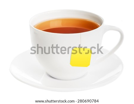 Cup of tea with tea bag on white background - stock photo