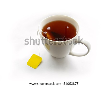 Cup of tea with teabag isolated on white background - stock photo