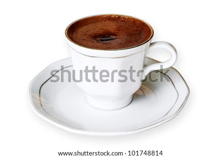 Cup of Turkish coffee on white - stock photo