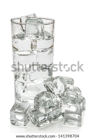 cup of water and ice cubes with clipping path - stock photo