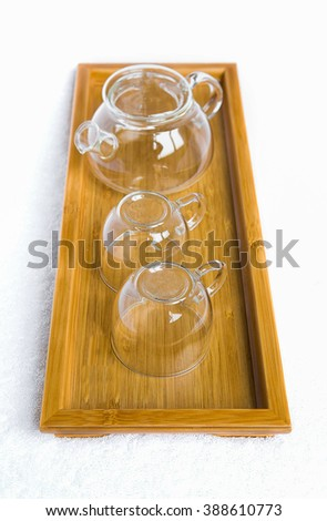 Cup on a wooden tray