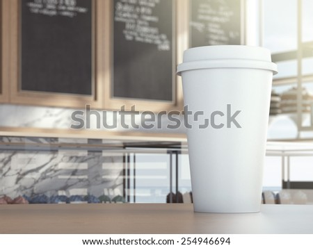 Cup on cafe table. 3d rendering - stock photo