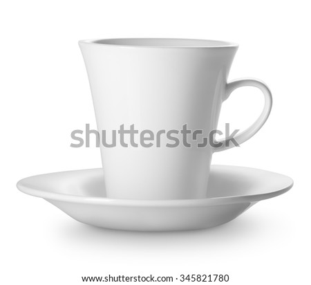 Cup on saucer isolated on a white background - stock photo