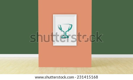 cup sign on empty frame in room - stock photo