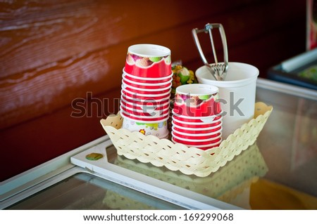 cup stack for icecream - stock photo