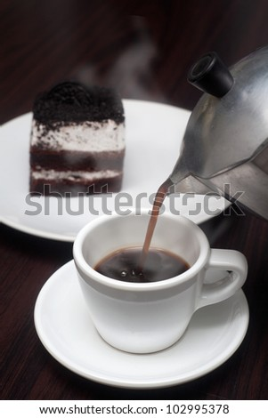 cup steaming mocha - stock photo