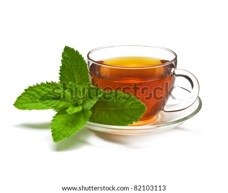 Cup tea with mint - stock photo