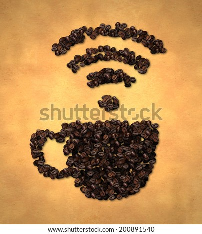 Cup Wireless Icon Coffee Bean on Old Paper - stock photo