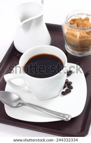 Cup with coffee and milk - stock photo