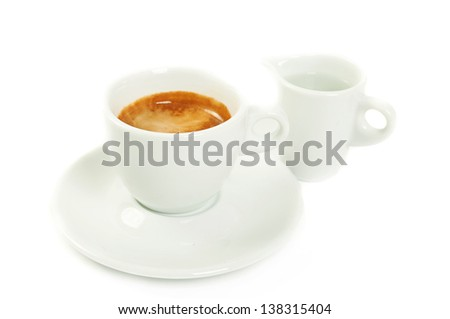 Cup with coffee espresso and fresh water  on white background