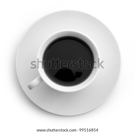 Cup with coffee. Vigorous morning and morning meal - stock photo