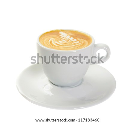 Cup with fresh  cappuccino isolated on white - stock photo