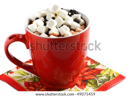 Cup with hot chocolate and marshmallow - stock photo