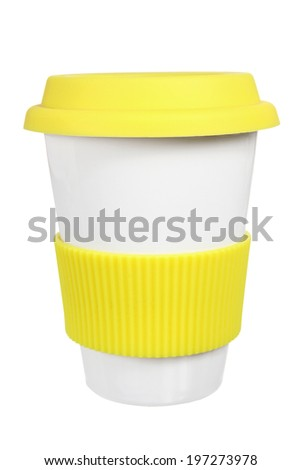 Cup with Lid on White Background - stock photo