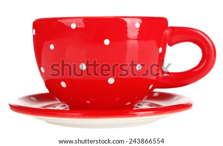 Cup with saucer isolated on white - stock photo