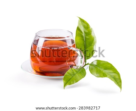 Cup with tea and green leaf on white background
