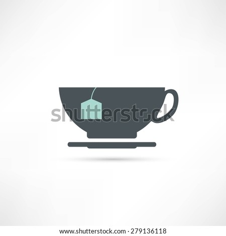 cup with tea bag icon - stock photo