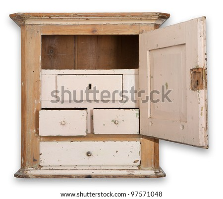 Cupboard or wall cabinet. antique furniture in wood. traditional Danish hanging tobacco cupboard with drawer and door