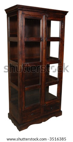 Cupboard with glass doors. Taken on a clean white background. - stock photo