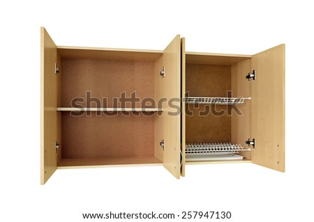 Cupboards isolated on white background - stock photo