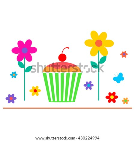 Cupcake and Flowers - stock photo