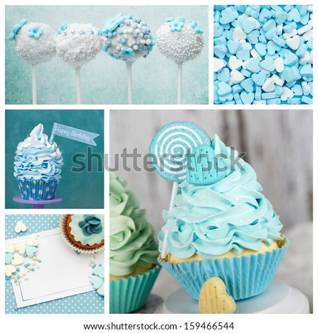 Cupcake cakepop candy collage - stock photo