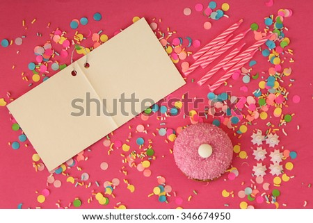 Cupcake, candle and copy space - happy birthday card - stock photo