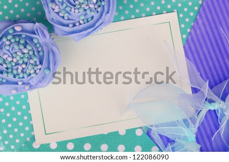 cupcake card background in purple and green - stock photo