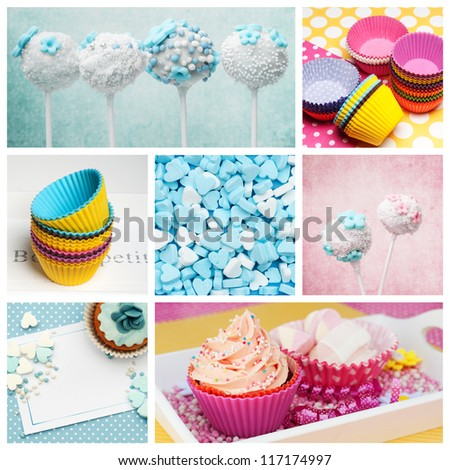 cupcake collage in baby pink and blue