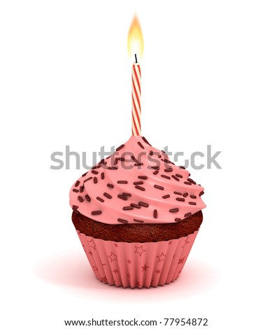 cupcake 3d illustration -  birthday dessert with lit candles isolated on the white background
