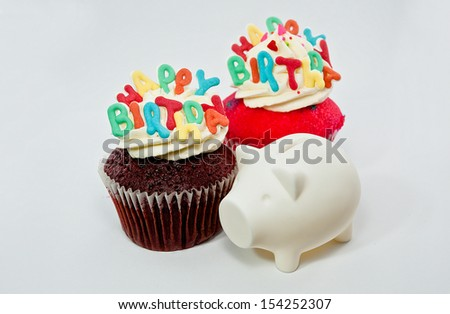 Cupcake decorated with birthday candles