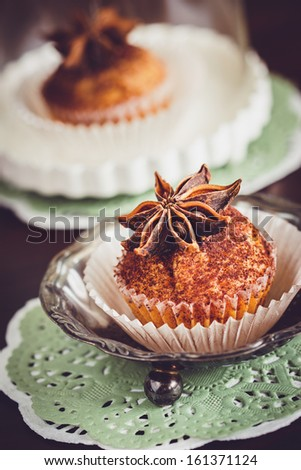 Cupcake decorated with cocoa and star anise. Selective focus - stock photo