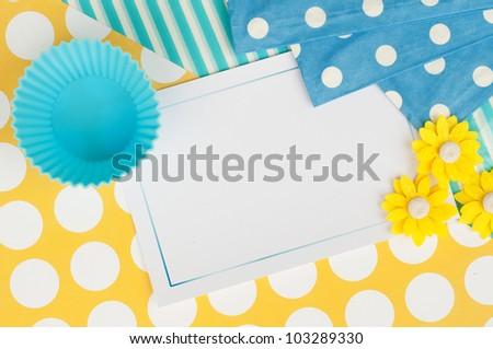 cupcake flower card design wallpaper background - stock photo