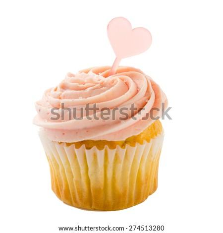 cupcake isolated over white background - stock photo