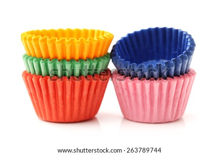 cupcake liners isolated on white background - stock photo