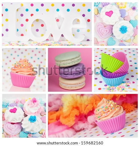 cupcake macaron collage - stock photo