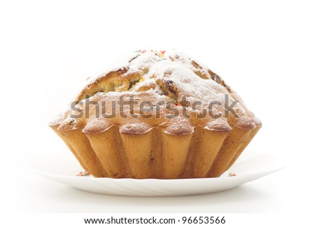 cupcake sprinkled with sugar pudroyyu isolated on white background - stock photo
