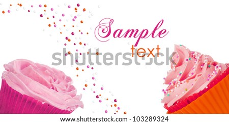 cupcake template design with room for your text - stock photo