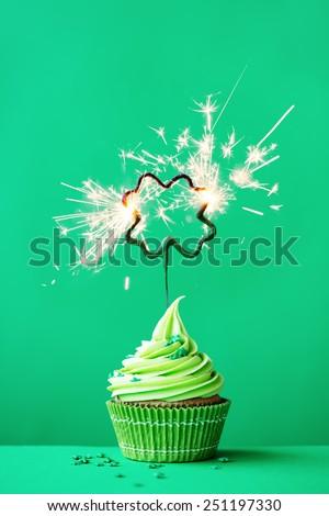 Cupcake to celebrate St Patrick's Day - stock photo