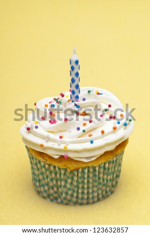 Cupcake with a candle displayed on yellow background.
