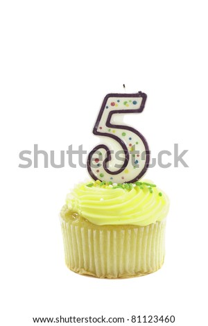 Cupcake with a decorative candle in the form of the number five isolated over a white background to celebrate a birthday or other occasion - stock photo