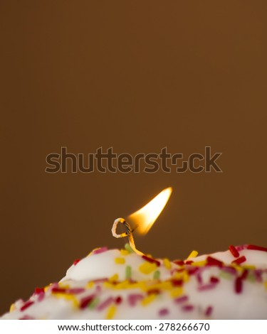 Cupcake with a lit candle  in an moody atmosphere