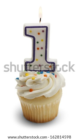 Cupcake with a Number One Candle Isolated on White Background. - stock photo