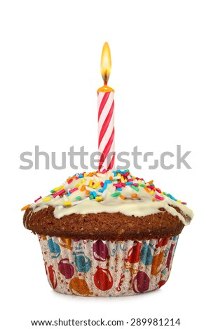 cupcake with birthday candle isolated on white - stock photo