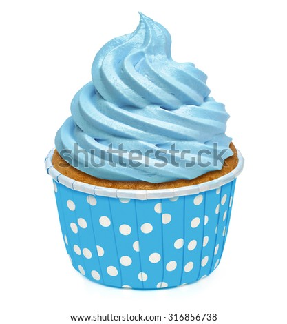 Cupcake with blue butter cream icing isolated on white background - stock photo