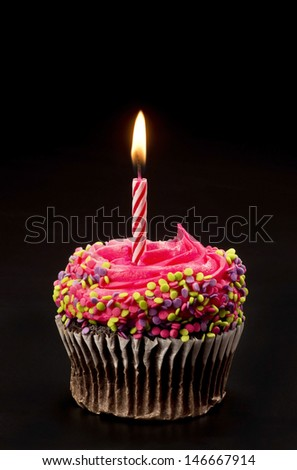 Cupcake with bright candle. - stock photo