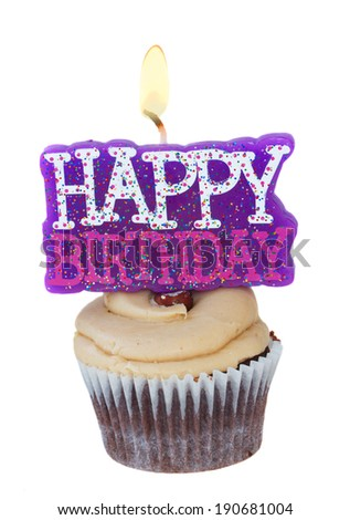 cupcake with candle burning happy birthday isolated on white background - stock photo